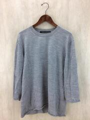 セーター(薄手)/L/ウール/GRY/無地/中古