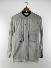 長袖シャツ/2/コットン/WHT/ストライプ/スタンドカラー/襟元色あせ/ルメール
