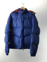 ダウンジャケット/M/ナイロン/BLU/無地/左袖と背面にシミ有り