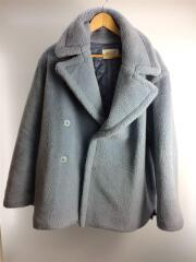 2018AW Wool Boa Half Pea Coat/40/ポリエステル/BLU