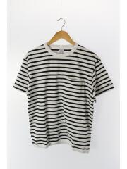 Tシャツ/M/コットン/WHT/ボーダー/SSカットソー/ポケットT/ホワイト/白/ロゴ/トップス