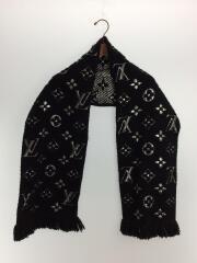 エシャルプ・ロゴマニア シャイン_モノグラム/ウール/ブラック/刺繍/M75833/マフラー/ロゴ