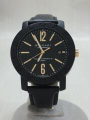 クォーツ腕時計/アナログ/レザー/ブラック/ロゴ/BBP40BGLD/VIADEICONDOTTI10