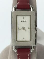 クォーツ腕時計/0219/アナログ/レザー/ホワイト/レッド