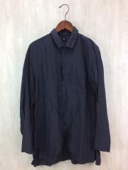 ロングスリーブシャツ/長袖シャツ/38/シルク/ブラック/無地/トップス/KS9SSH02