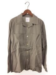 20ss/asaシャツ/長袖シャツ/M/リネン/オープンカラー/カーキ/トップス/タグ付