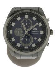 クォーツ腕時計/アナログ/ステンレス/シルバー/ネイビー/ロゴ/TT0U-C2
