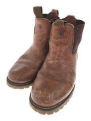 ブーツ/8M/26.5cm/ブラウン/レザー/サイドゴアブーツ/ロゴ/vibramソール/91022