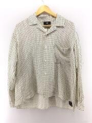 長袖シャツ/開襟シャツ/オープンカラーシャツ/日本製/S/ポリエステル/白/ドット