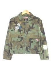 ミリタリージャケット/XS/コットン/カーキ/カモフラ/PC9-38987/刺繍/フラワー/鶴/アウター