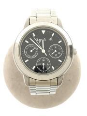 クォーツ腕時計/アナログ/ステンレス/シルバー/ブラック/ロゴ/V33J-0010/クロノグラフ