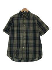 半袖シャツ/M/コットン/チェック/S/Sシャツ/グリーン/トップス/ショートスリーブシャツ