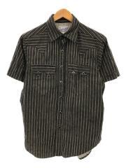 半袖シャツ/--/コットン/ブラック/ストライプ