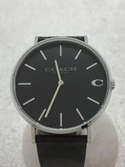クォーツ腕時計/アナログ/レザー/ブラック/ブラウン/124.2.14.1580