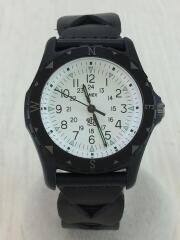 タイメックス×ロンハーマン/クォーツ腕時計/アナログ/レザー/BLK/Ron Herman