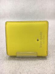 2つ折り財布/レザー/YLW/無地/レディース