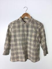 7分袖シャツ/2/リネン/IVO/チェック/595-7153513/エムエイチエル