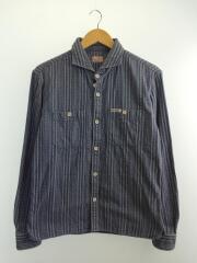 ワイドスプレッドドビーストライプシャツ/F-SCS-003L/長袖シャツ/M/コットン/IDG/総柄
