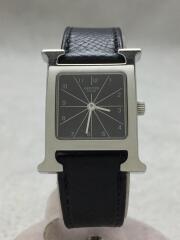 クォーツ腕時計/アナログ/レザー/BLK/HH1 210