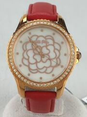 Santorini Flower/WF15B034SP/クォーツ腕時計/アナログ/レザー/WHT/RED/