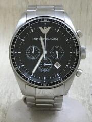 クロノグラフ/クォーツ腕時計/アナログ/ステンレス/BLK/SLV/AR0585/エンポリオアルマーニ