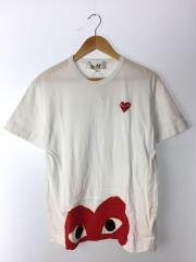 綿天竺ワンポイントプリントTシャツ/L/コットン/ホワイト