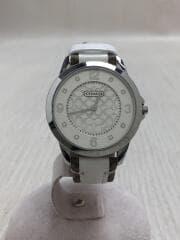 クォーツ腕時計/アナログ/レザー/SLV/WHT/ニュークラシックシグネチャー/セカスト