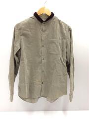 襟切替長袖シャツ/1/コットン/コーデュロイ/グレー/J4402