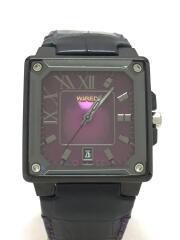 クォーツ腕時計/アナログ/レザー/PUP/BLK