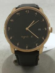 クォーツ腕時計/アナログ/レザー/BLK/BLK/VJ42-KZ30