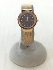 LEONORA(レオノラ)/クォーツ腕時計/アナログ/ステンレス/BRW/GLD/スカーゲン
