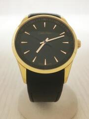 クォーツ腕時計/アナログ/レザー/BLK/BLK/K5A316
