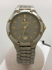 ENICAR/クォーツ腕時計/アナログ/ステンレス/GRY