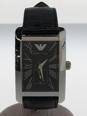 クォーツ腕時計/アナログ/レザー/BLK/BLK/AR-0143