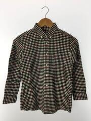 7分袖シャツ/--/コットン/BLK/チェック