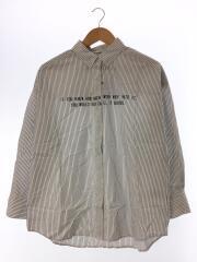 ボタンダウンストライプワイドシャツ/長袖シャツ/0/コットン/WHT/ストライプ
