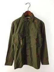 刺繍ミリタリーシャツ/長袖シャツ/XS/コットン/KHK/SM12FW-01