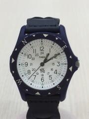 クォーツ腕時計/アナログ/レザー/BLK/NVY