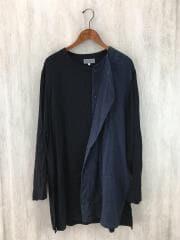 長袖シャツ/2/コットン/BLK/無地/ノーカラー ロングシャツ