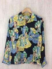 オープンカラシャツ/M/レーヨン/ブラック/フラガール/ハイビスカス/タバコの匂い有/袖襟汚れ