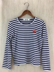 Tシャツ/M/コットン/ネイビー/ボーダー/赤ハート刺繍/AP-T00/スパンコール/ロングスリーブ