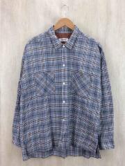 VTG CHECK WIDE SHIRT/ワイドシャツ/L/コットン/ブルー/チェック/オーバーサイズ