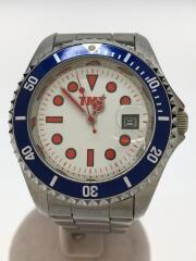 クォーツ腕時計/アナログ/ステンレス/ホワイト/シルバー/ダイバーズウォッチ/トリコロール