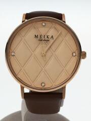 MEIKA/クォーツ腕時計/アナログ/レザー/ピンク/ブラウン/カーフレザー