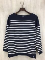 長袖Tシャツ/3/ウール/ネイビー/ニットバスクシャツ/