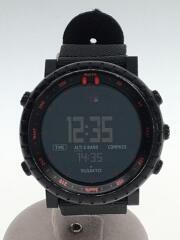 クォーツ腕時計/デジタル/ナイロン/ブラック/CORE BLACK RED