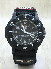 クォーツ腕時計/アナログ/ナイロン/ブラック/ナイロンベルト