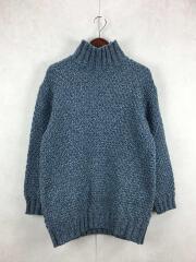 セーター(厚手)/--/ウール/ブルー/ハンドビッグシルエットタートルネックニット/