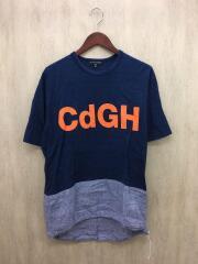 Tシャツ/M/コットン/インディゴ/AD2018/切替/CDGHロゴプリント/チェック切替/ロング丈