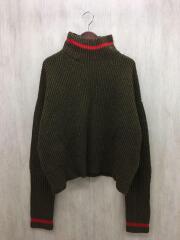 セーター(厚手)/1/ウール/カーキ/プルオーバーニット/タートルネック/ビッグシルエット/mb174-80